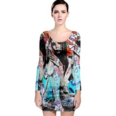 Graffiti angel Long Sleeve Bodycon Dress