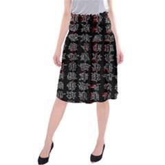 Chinese characters Midi Beach Skirt