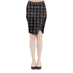 Chinese characters Midi Wrap Pencil Skirt