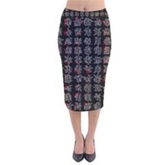 Chinese characters Velvet Midi Pencil Skirt