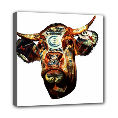 Artistic Cow Mini Canvas 8  x 8