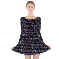 Handwriting  Long Sleeve Velvet Skater Dress