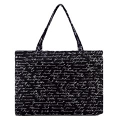 Handwriting  Medium Zipper Tote Bag