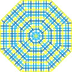 Gingham Plaid Yellow Aqua Blue Straight Umbrellas