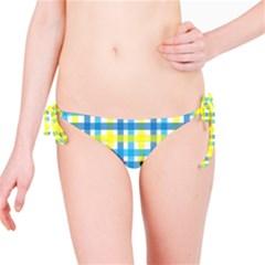 Gingham Plaid Yellow Aqua Blue Bikini Bottom
