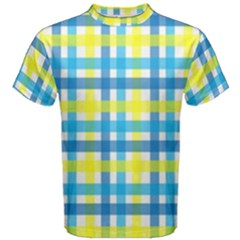 Gingham Plaid Yellow Aqua Blue Men s Cotton Tee
