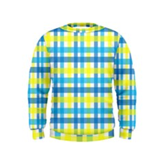 Gingham Plaid Yellow Aqua Blue Kids  Sweatshirt