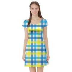 Gingham Plaid Yellow Aqua Blue Short Sleeve Skater Dress