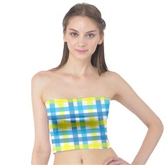 Gingham Plaid Yellow Aqua Blue Tube Top