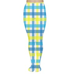 Gingham Plaid Yellow Aqua Blue Women s Tights