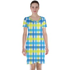 Gingham Plaid Yellow Aqua Blue Short Sleeve Nightdress