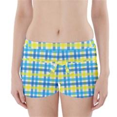 Gingham Plaid Yellow Aqua Blue Boyleg Bikini Wrap Bottoms