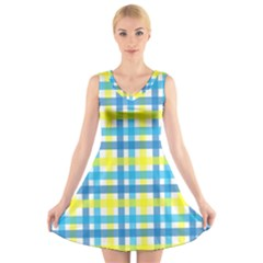 Gingham Plaid Yellow Aqua Blue V-Neck Sleeveless Skater Dress