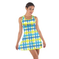 Gingham Plaid Yellow Aqua Blue Cotton Racerback Dress