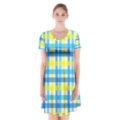 Gingham Plaid Yellow Aqua Blue Short Sleeve V Neck Flare Dress