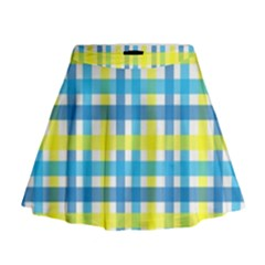 Gingham Plaid Yellow Aqua Blue Mini Flare Skirt