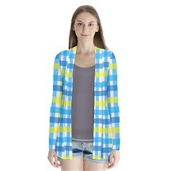 Gingham Plaid Yellow Aqua Blue Cardigans