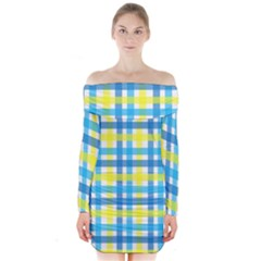Gingham Plaid Yellow Aqua Blue Long Sleeve Off Shoulder Dress