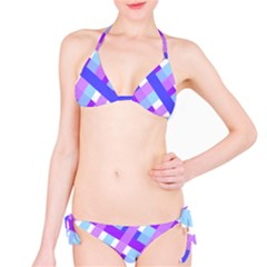 Geometric Plaid Gingham Diagonal Bikini Set