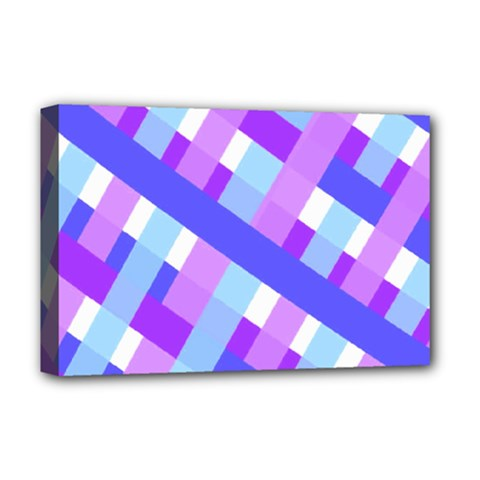 Geometric Plaid Gingham Diagonal Deluxe Canvas 18  x 12