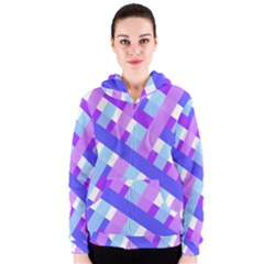 Geometric Plaid Gingham Diagonal Women s Zipper Hoodie