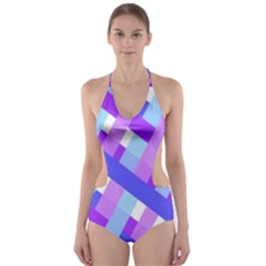 Geometric Plaid Gingham Diagonal Cut-Out One Piece Swimsuit