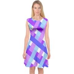 Geometric Plaid Gingham Diagonal Capsleeve Midi Dress