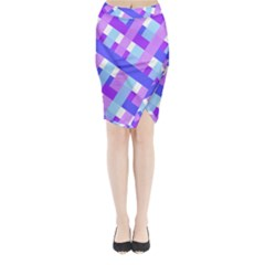 Geometric Plaid Gingham Diagonal Midi Wrap Pencil Skirt