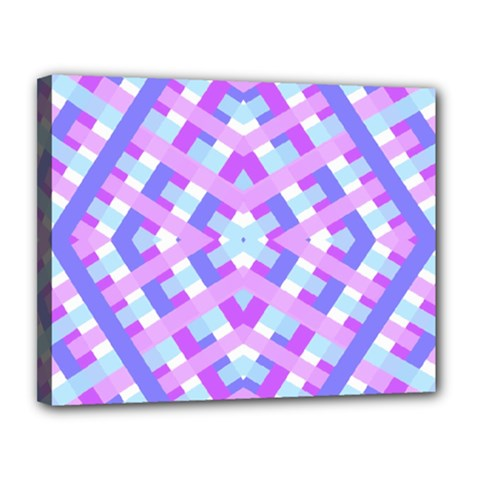Geometric Gingham Merged Retro Pattern Canvas 14  X 11