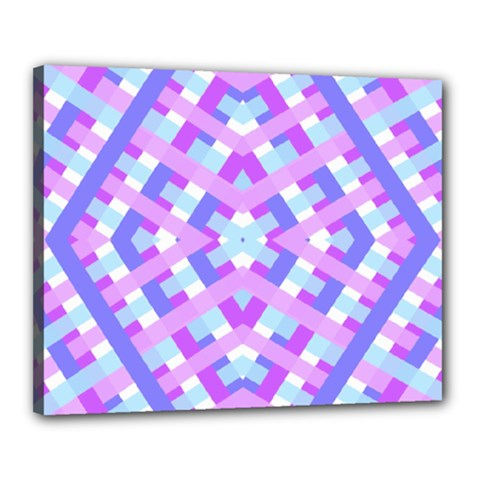 Geometric Gingham Merged Retro Pattern Canvas 20  X 16
