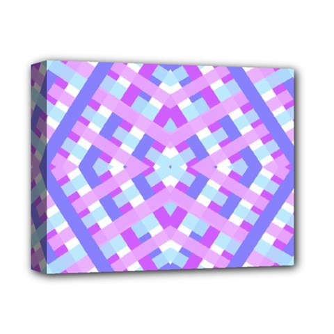 Geometric Gingham Merged Retro Pattern Deluxe Canvas 14  X 11