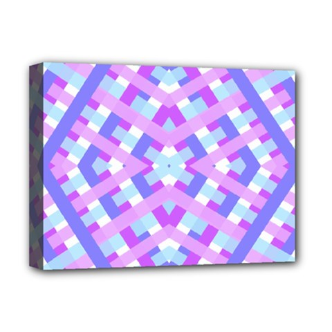 Geometric Gingham Merged Retro Pattern Deluxe Canvas 16  X 12
