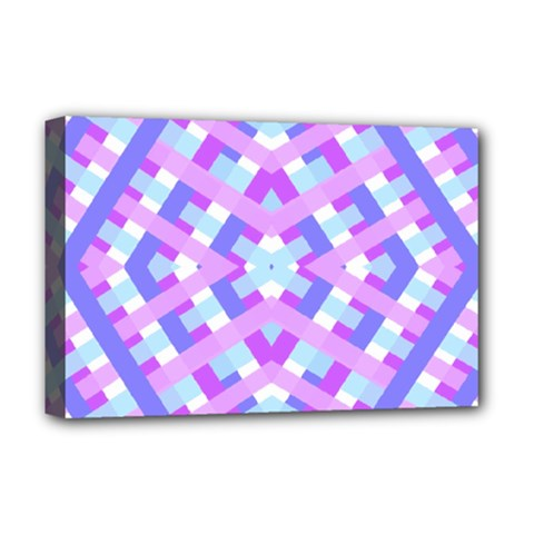 Geometric Gingham Merged Retro Pattern Deluxe Canvas 18  X 12