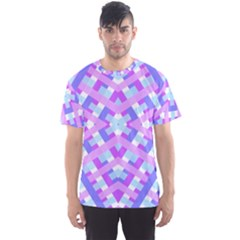 Geometric Gingham Merged Retro Pattern Men s Sport Mesh Tee