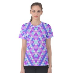 Geometric Gingham Merged Retro Pattern Women s Cotton Tee
