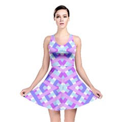 Geometric Gingham Merged Retro Pattern Reversible Skater Dress