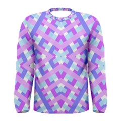 Geometric Gingham Merged Retro Pattern Men s Long Sleeve Tee