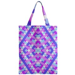 Geometric Gingham Merged Retro Pattern Zipper Classic Tote Bag