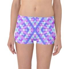 Geometric Gingham Merged Retro Pattern Boyleg Bikini Bottoms