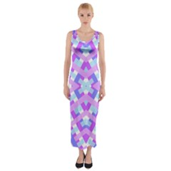 Geometric Gingham Merged Retro Pattern Fitted Maxi Dress