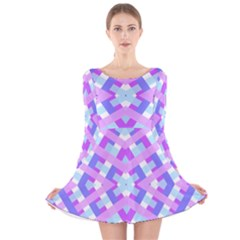 Geometric Gingham Merged Retro Pattern Long Sleeve Velvet Skater Dress