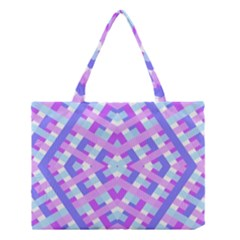 Geometric Gingham Merged Retro Pattern Medium Tote Bag