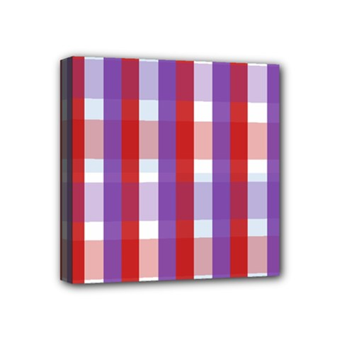 Gingham Pattern Checkered Violet Mini Canvas 4  X 4