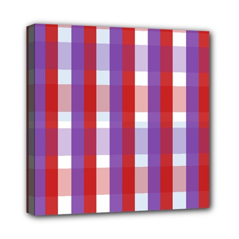 Gingham Pattern Checkered Violet Mini Canvas 8  X 8