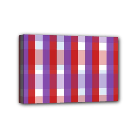 Gingham Pattern Checkered Violet Mini Canvas 6  X 4