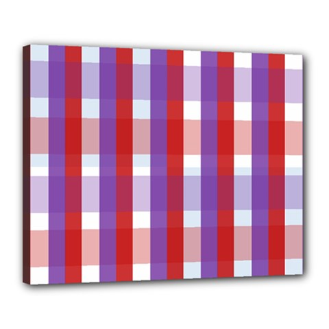 Gingham Pattern Checkered Violet Canvas 20  X 16