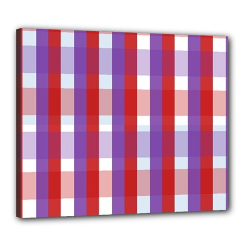 Gingham Pattern Checkered Violet Canvas 24  X 20