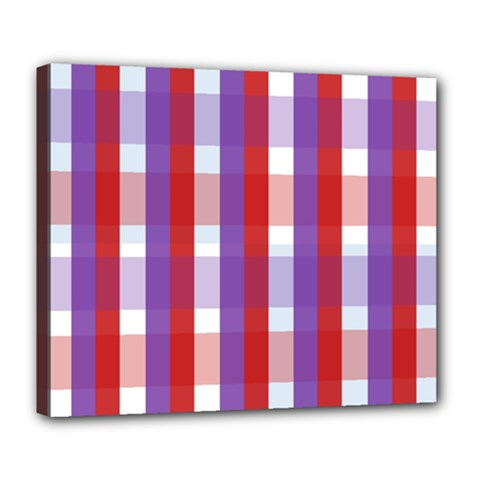 Gingham Pattern Checkered Violet Deluxe Canvas 24  x 20