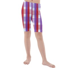 Gingham Pattern Checkered Violet Kids  Mid Length Swim Shorts