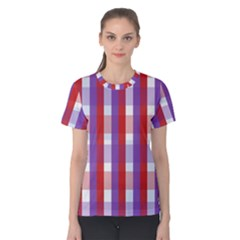 Gingham Pattern Checkered Violet Women s Cotton Tee